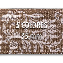 Elástico metalizado FLORES 35 mm - Rollo 25 metros