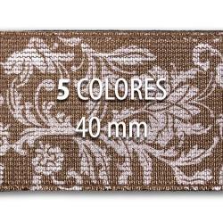 Elástico metalizado FLORES 40 mm - Rollo 25 metros