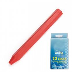 Tizas cera hexagonal 12 mm rojo - Caja 12 uds