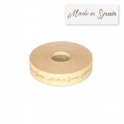"Etiquetas ""Made in Spain"" 20x55 mm - Rollo 1000 unidades transparentes"