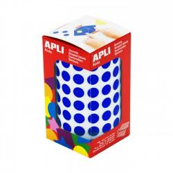 Rollo gomets redondos apli 10.5 mm azul