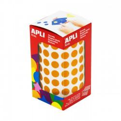 Rollo gomets redondos apli 10.5 mm naranja