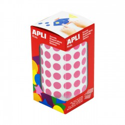 Rollo gomets redondos apli 10.5 mm rosa