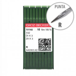 Aguja Groz-Beckert 332 100/16 Punta R - Pack 10 uds
