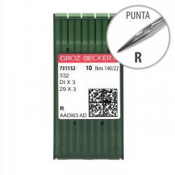 Aguja Groz-Beckert 332 140/22 Punta R - Pack 10 uds