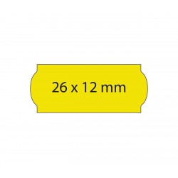 Rollo etiquetas 26x12 amarillo fluor, adhesivo permanente