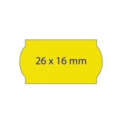 Rollo etiquetas 26x16 amarillo fluor, adhesivo permanente