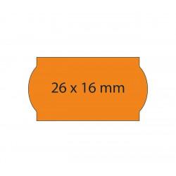Rollo etiquetas 26x16 naranja fluor, adhesivo permanente