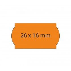 Rollo etiquetas 26x16 naranja fluor, adhesivo removible