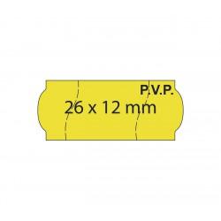 Rollo etiquetas 26x12 amarillo fluor,PVP, corte seguridad, adhesivo permanente