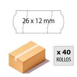 Caja etiquetas 26x12 blancas, corte seguridad, adhesivo permanente
