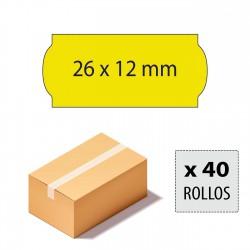 Caja etiquetas 26x12 amarillo fluor, adhesivo permanente