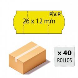 Caja etiquetas 26x12 amarillo fluor,PVP, corte seguridad, adhesivo permanente