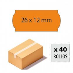 Caja etiquetas 26x12 naranja fluor, adhesivo permanente.
