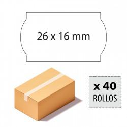 Caja etiquetas 26x16 blancas adhesivo permanente