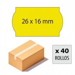 Caja etiquetas 26x16 amarillo fluor, adhesivo permanente
