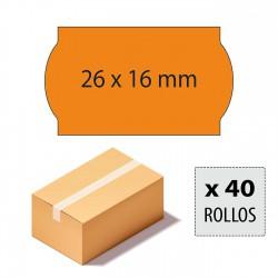 Caja etiquetas 26x16 naranja fluor, adhesivo removible