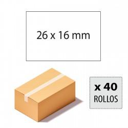 Caja etiquetas 26x16 blancas, rectangulares, adhesivo permanente