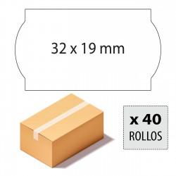 Caja etiquetas 32x19 blancas, adhesivo permanente