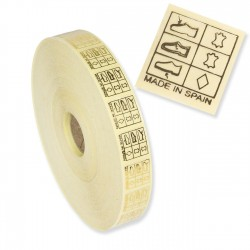 Pictogramas transparentes calzado made in spain 20x20 mm - Rollo 5000 unidades