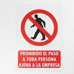"""Señal """"prohibido el paso a toda persona ajena a la empresa"""" 25x35 cm"""