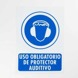 """Señal """"Uso obligatorio de protector auditivo"""" 25x35 cm"""