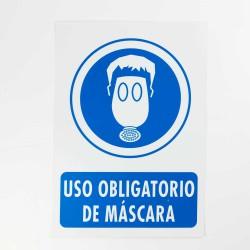 """Señal """"Uso obligatorio de máscara"""" 25x35 cm"""