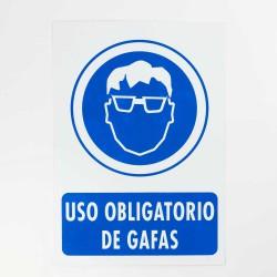 "Señal ""Uso obligatorio de gafas"" 25x35 cm"