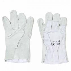 Guantes piel-tejido blanco CK305