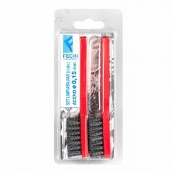 Cepillo limpia bujías metálico rojo 130 mm - Pack 2 uds