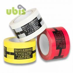 Precinto seguridad anti manipulación 75mm x 132m Rojo, amarillo, blanco - Caja 24 uds