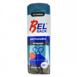 Bolsa plástico basura asas negra 55x60 cm perfumada 30L - pack 15 uds