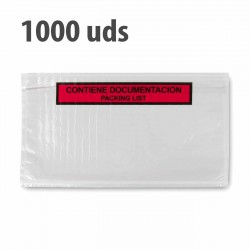 "Sobre ""contiene documentación"" packing list adhesivo 240x140mm - Pack 1000 uds"