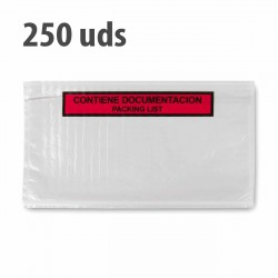 """Sobre """"contiene documentación"""" packing list adhesivo 240x140mm - Pack 1000 uds"""