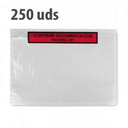 "Sobre ""contiene documentación"" packing list adhesivo 240x180mm - Pack 250 uds"