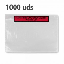 "Sobre ""contiene documentación"" packing list adhesivo 240x180mm - Pack 1000 uds"