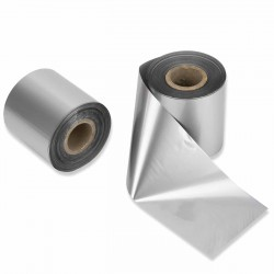 Rollo cinta transferencia térmica timbrar clichés plateada 20 mm a 500 mm