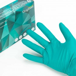 Pack 100 Guantes médicos nitrilo verde alta resistencia