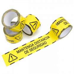 """Pack 4 rollos Cinta para suelo balizamiento """"mantenga distancia de seguridad"""" PVC 72 mm x 50 mts"""