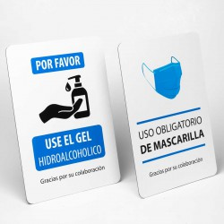 Pack 2x Cartel con pié señalización Gel hidroalcoholico y mascarillas