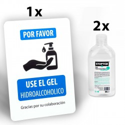 Pack 1 Cartel + 2 geles hidroalcoholicos 500 ml, Con pié, señalización Gel hidroalcoholico