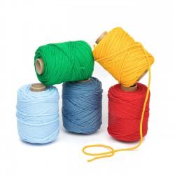 Cordón elástico 3 mm flojo suave col. Varios colores, 5 bobinas de 100 mts