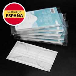 Pack 25 Mascarillas Higiénicas UNE 0064:2020, blancas, alto confort, Fabricadas en España