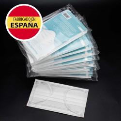 Pack 50 Mascarillas Higiénicas UNE 0064:2020, blancas, alto confort, Fabricadas en España