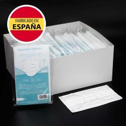Caja 125 Mascarillas Higiénicas UNE 0064:2020, blancas, alto confort, Fabricadas en España