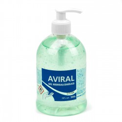 Gel hidroalcoholico 500 ml con dispensador, 70% alcohol, Aviral - 500 ml