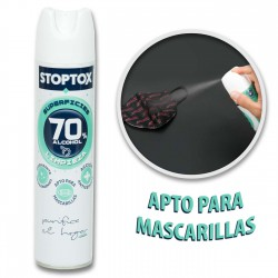 Spray desinfectante mascarillas, tejidos y superficies 70% Alc. STOPTOX 300 ml