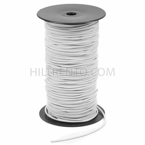 Cordón goma elástica para mascarillas Blanco 3 mm  20-G - Carrete 150 mts