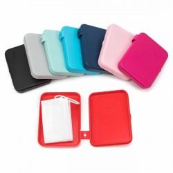 Caja estuche plástico silicona porta mascarilla quirúrgica 11,5x8,5 cm varios colores
