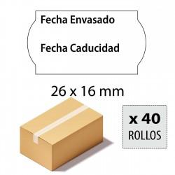 Caja etiquetas 26x16 Alimentarias, Fecha envasado, Fecha caducidad, blancas adhesivo permanente